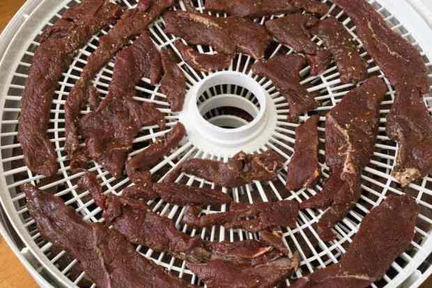Elk jerky on dehydrator trays