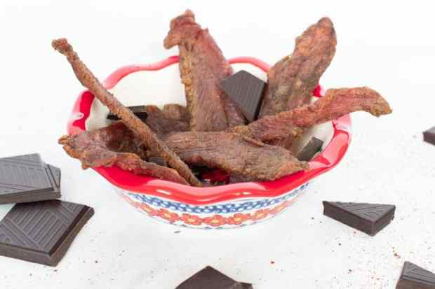 Mole turkey jerky with chocolate