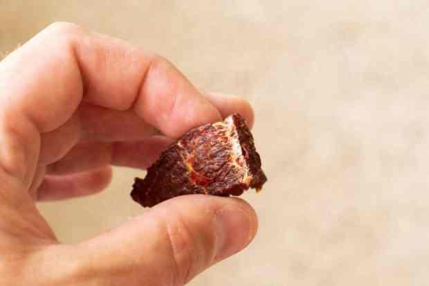 Beef jerky bent in half showing white fibers