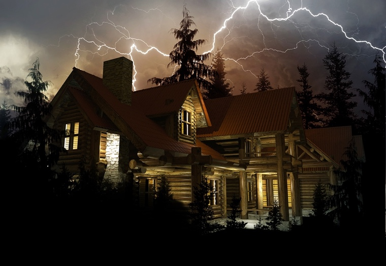 Log Home in the Middle of the Forest During Heavy NIght Time Lightning Storm. 3D Render Illustration.