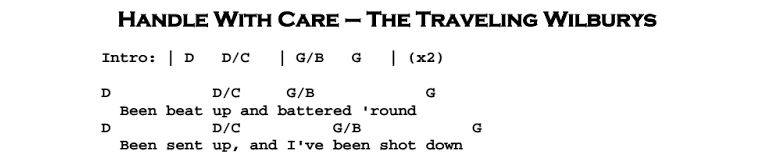 Travelling Wilburys Handle With Care Guitar Chords | Myvacationplan.org