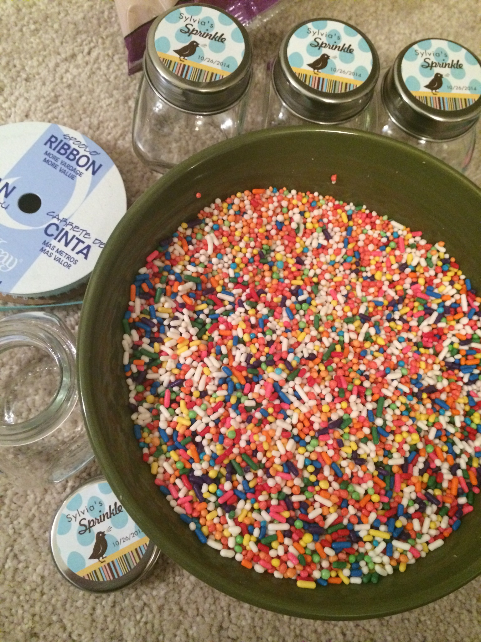 You Need A Pretty Good Amount Of Sprinkles To Fill Up All 24 Jars. I Bought  My Sprinkles On Amazon. I Got A Mix Of The Small Circular Pearl Sprinkles  And ...