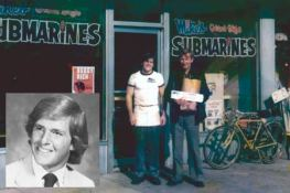 A very young Peter Cancro standing outside the original Jersey Mike's store