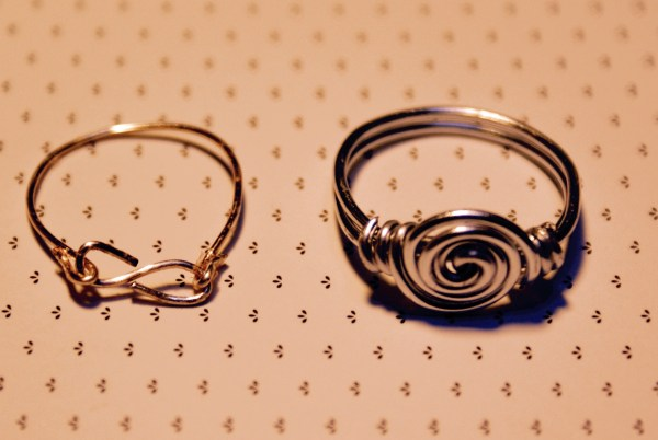 Spiral and infinity rings to help us warm up in wire wrapping.