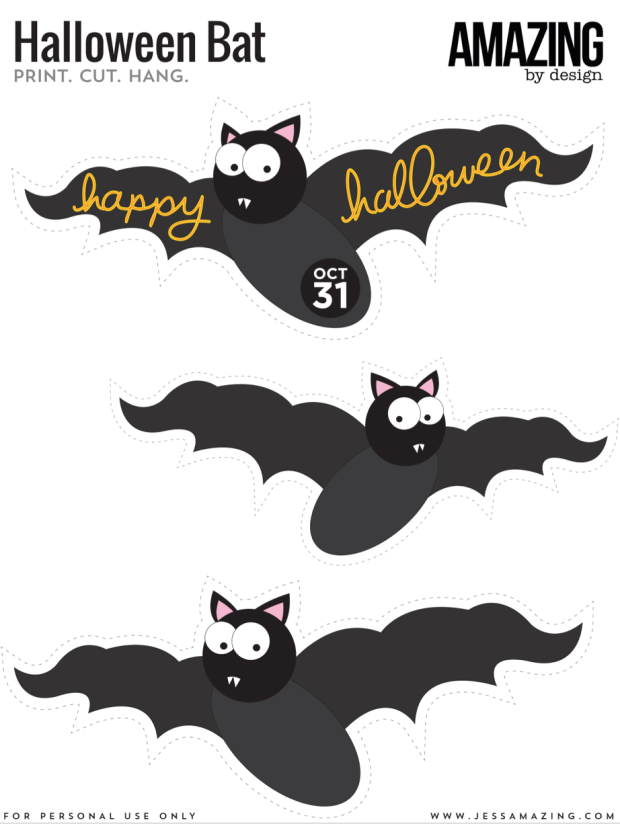 Printable hanging bat for Halloween