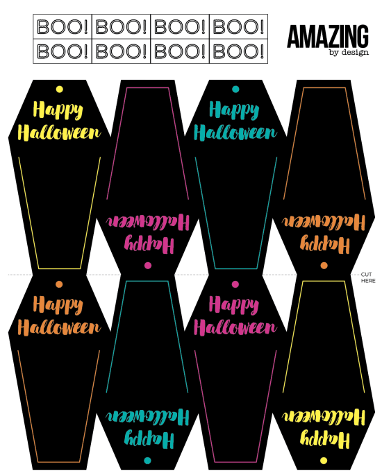 Free printable coffin gift tags Halloween- line