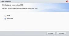 Paramètres de connexion au VPN, Choix OpenVPN ou PPTP