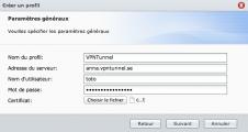 Paramètres de connexion au VPN, 1ère partie.