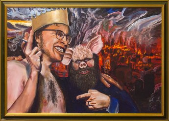 Some men just won't watch the world burn, 2017, oil on canvas, 88 x 60 cm