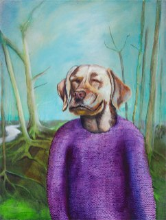 Mr Dog and his favorite sweater, 2019, oil on canvas, 60 x 45 cm (State Art Commission / Finnish National Gallery)