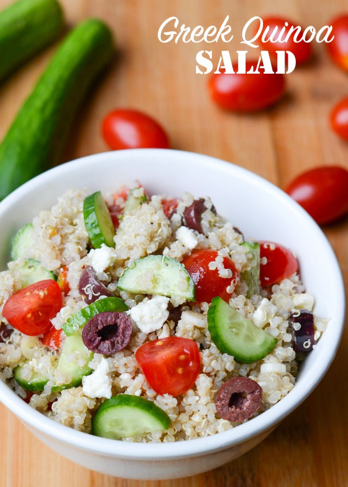 This Greek Quinoa Salad is packed with all your favorite mediterranean flavors-- olives, feta, tomatoes and more, then tossed in a delicious homemade Greek dressing.