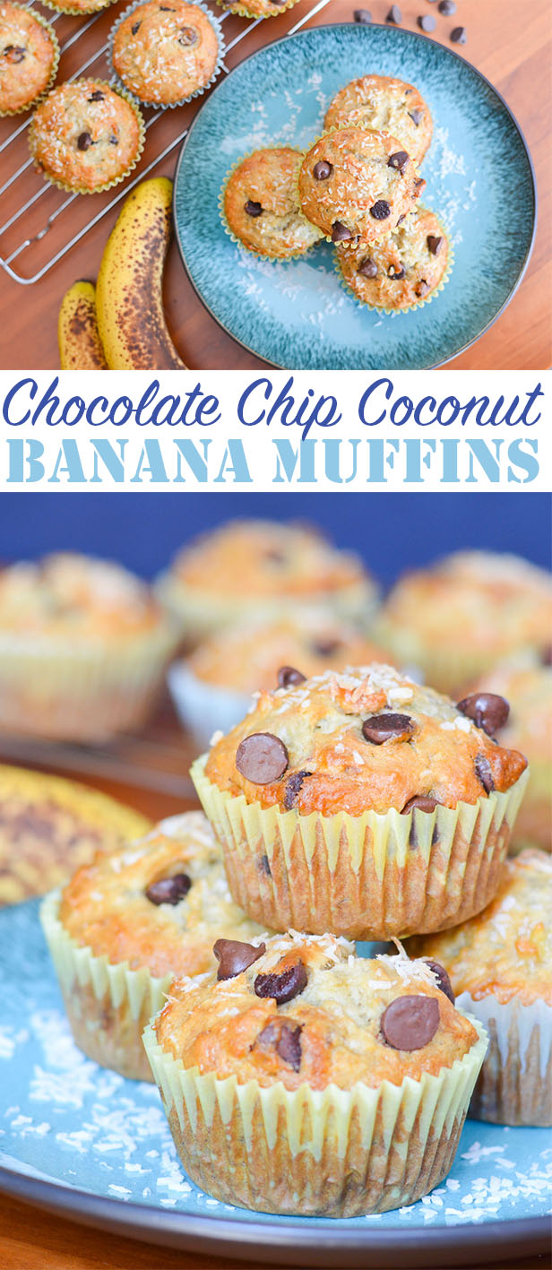 These Chocolate Chip Coconut Banana Muffins are sweet and fluffy, like perfect bakery muffins. The tropical combination is perfect for breakfast or a snack!