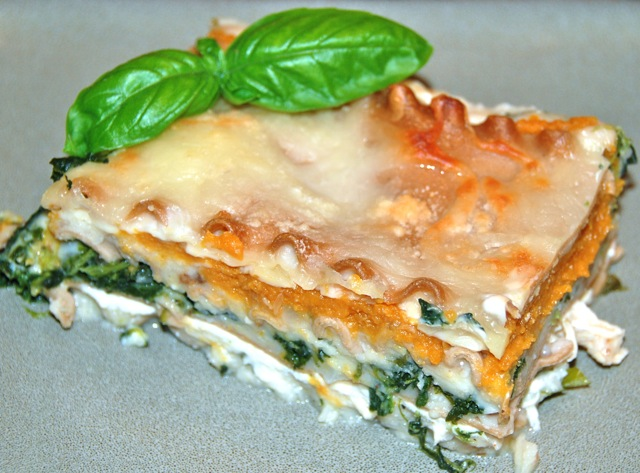 White Chicken Lasagna with Pumpkin and Spinach from Flying on Jess Fuel
