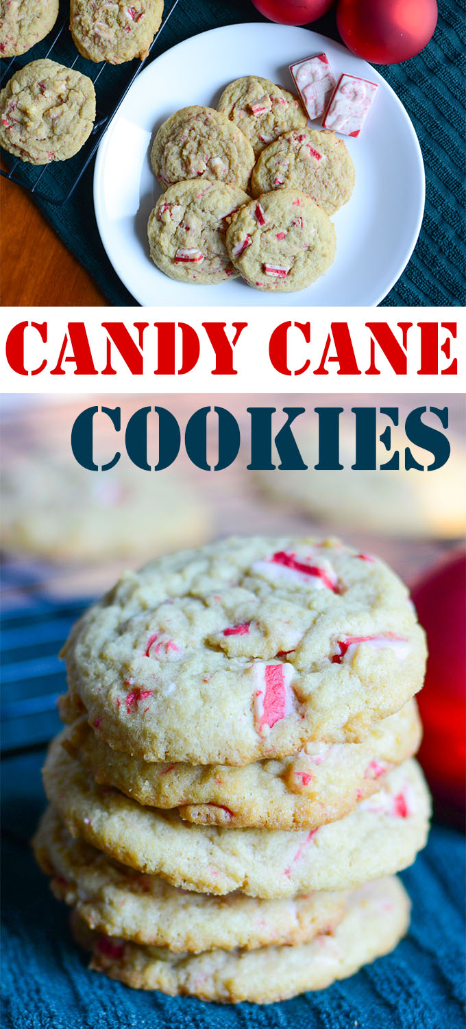 These Candy Cane Cookies are the perfect holiday peppermint treat. Studded with Andes Peppermint Crunch Baking Chips and a secret ingredient to make them extra soft and delicious!