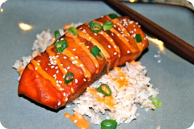 Teriyaki Glazed Salmon with Sriracha Cream Sauce