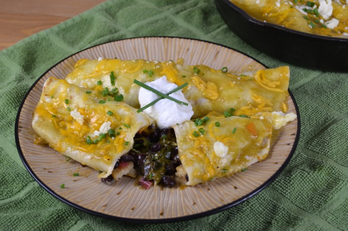 Green Chile and Chard Skillet Enchiladas
