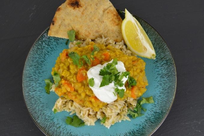 Spiced Lentil Dal with Cilantro Yogurt