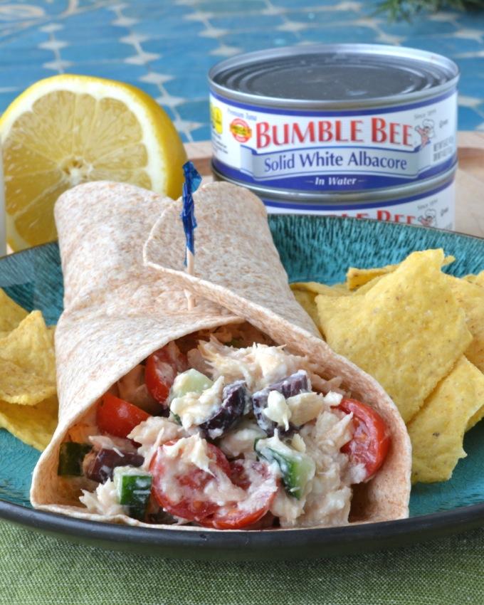 Greek Tuna Salad Wraps with Bumble Bee Tuna #BeeHealthy #CG