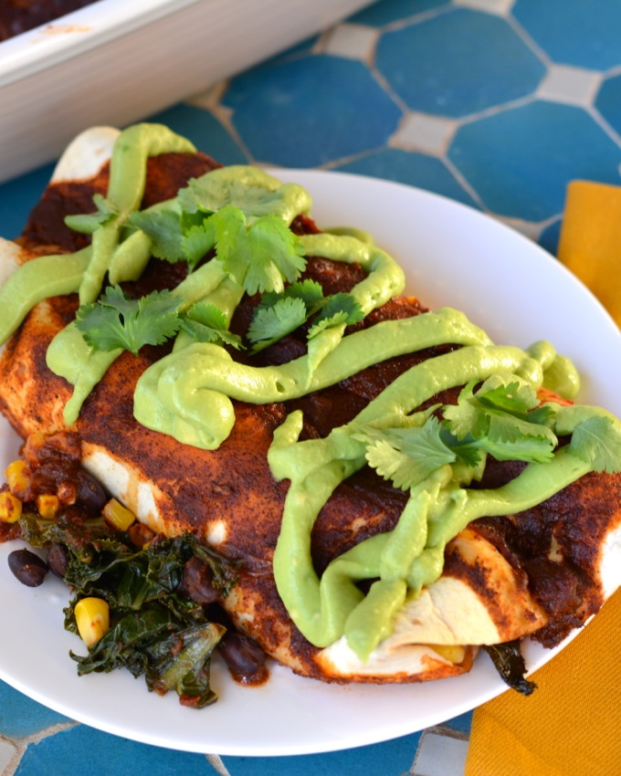 Kale and Black Bean Enchiladas with Avocado Cream and Homemade Enchilada Sauce (Vegan)