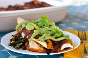 Kale and Black Bean Enchiladas with Avocado Cream and Homemade Enchilada Sauce (Vegan)