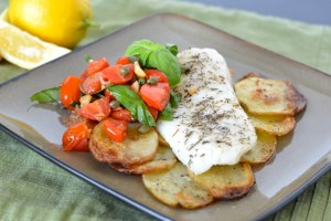 Roasted Cod with Crispy Garlic Potatoes and Warm Tomato Salsa