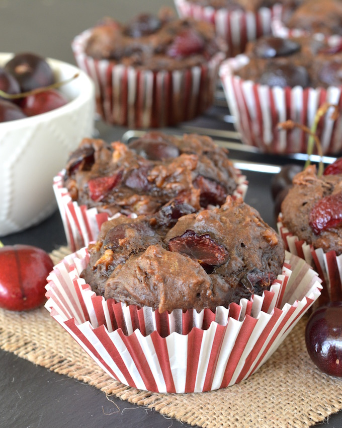 Chocolate Cherry Banana Bread Muffins