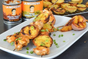 Chipotle Peach BBQ Chicken Skewers with Grilled Jalapeno Cornbread