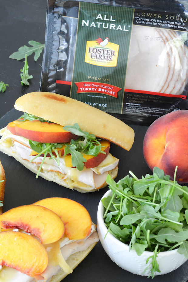 Warm Turkey, Brie and Fresh Peach Baguettes