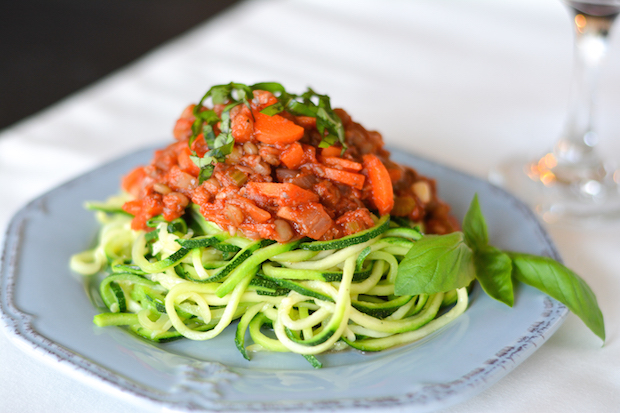 Zoodles with Lentil and Mushroom Bolognese