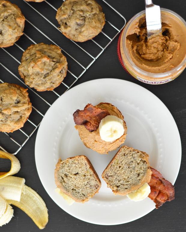 Peanut Butter, Banana and Bacon Elvis Breakfast Cupcakes