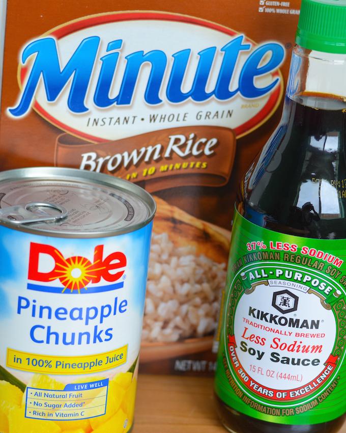 Minute Rice, Kikkoman Soy Sauce and Dole Pineapple Chunks