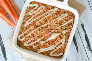 Carrot Cake Baked Oatmeal with Cream Cheese Icing Glaze
