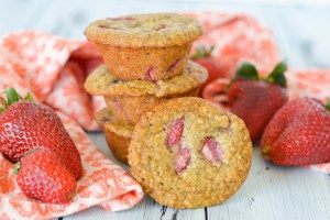 Strawberry Banana Oatmeal Flax Muffins