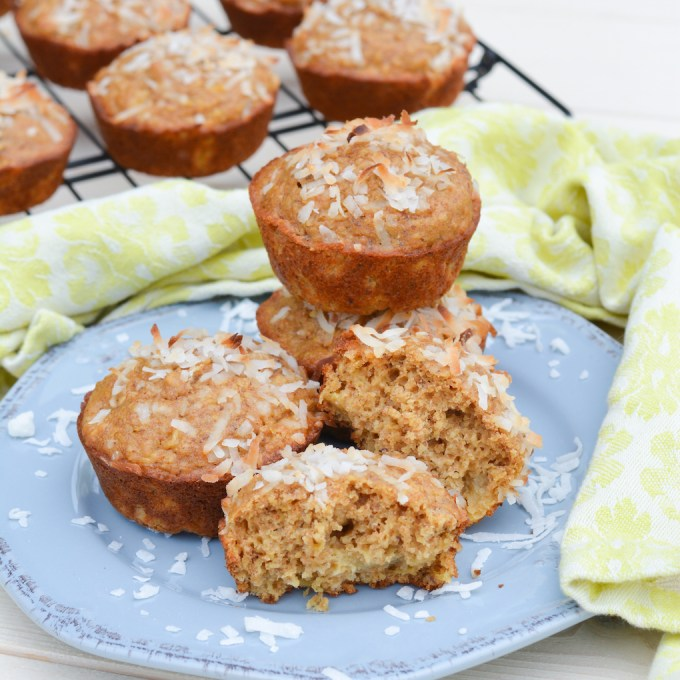 These Piña Colada Oatmeal Muffins are packed with healthy oatmeal and whole wheat, and lightly sweetened with coconut sugar and pineapple juice. They're super easy too, made completely in the food processor or blender!
