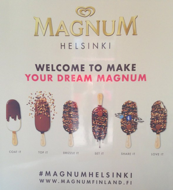 Magnum Helsinki store welcome poster.
