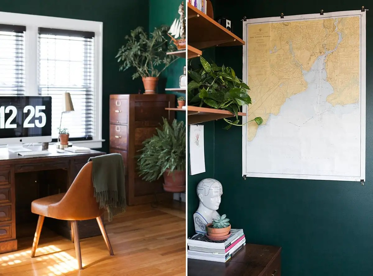 hunter green home office - emerald green office space - jessica brigham blog - home office decor ideas - boho office space