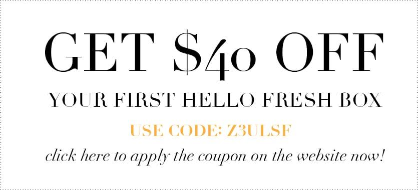 Hello Fresh coupon - hello fresh discount code - jessica brigham blog