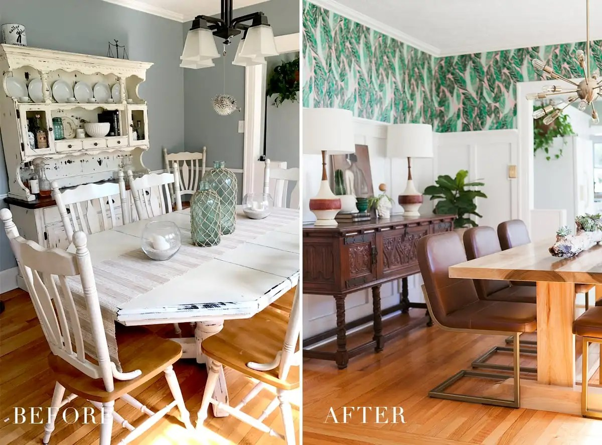 Before & After: Modern Vintage Dining Room Reveal ... on Dining Room Curtains  id=24725