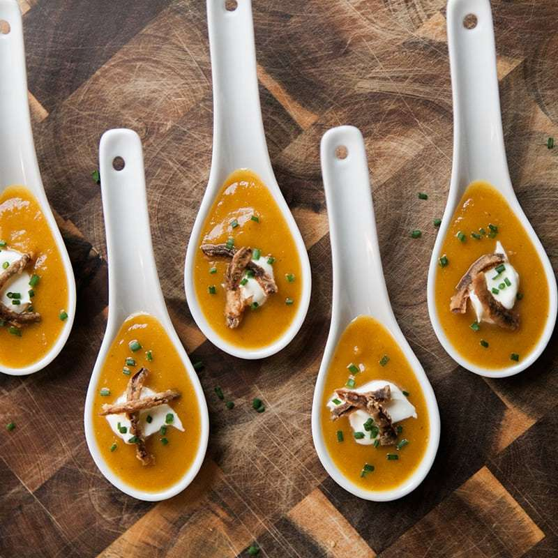 Thanksgiving Appetizer | Spicy & Sweet Pumpkin Soup Shooter | 30-Minute Meals | Jessica Brigham