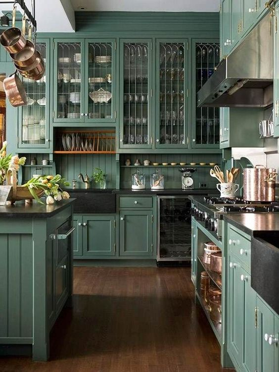 picture of modern green kitchen cabinets | The Best Dark Green Kitchens Like Ever » Jessica Brigham
