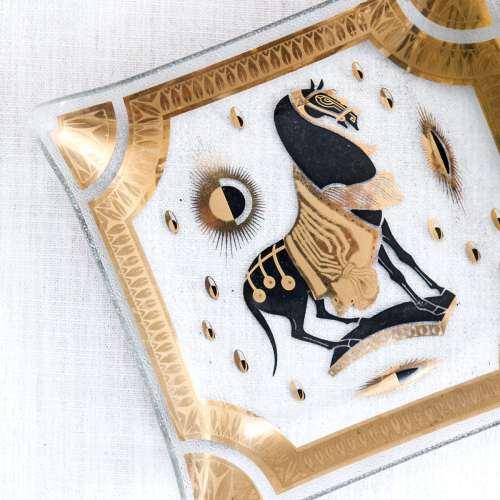 Vintage Mid Century Fred Press Glass Tray   Gold Trojan Horse   Hollywood Regency   Jessica Brigham