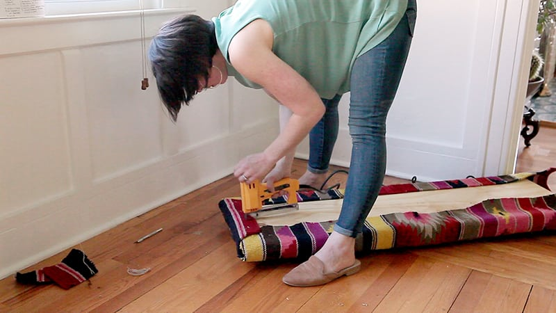 Crazy Colorful DIY Kilim Bench | Upholstered Bench | Jessica Brigham | Magazine Ready for Life