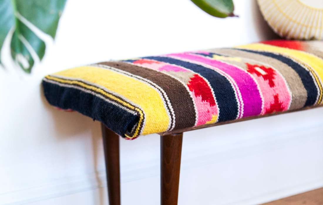 Crazy Colorful DIY Kilim Bench