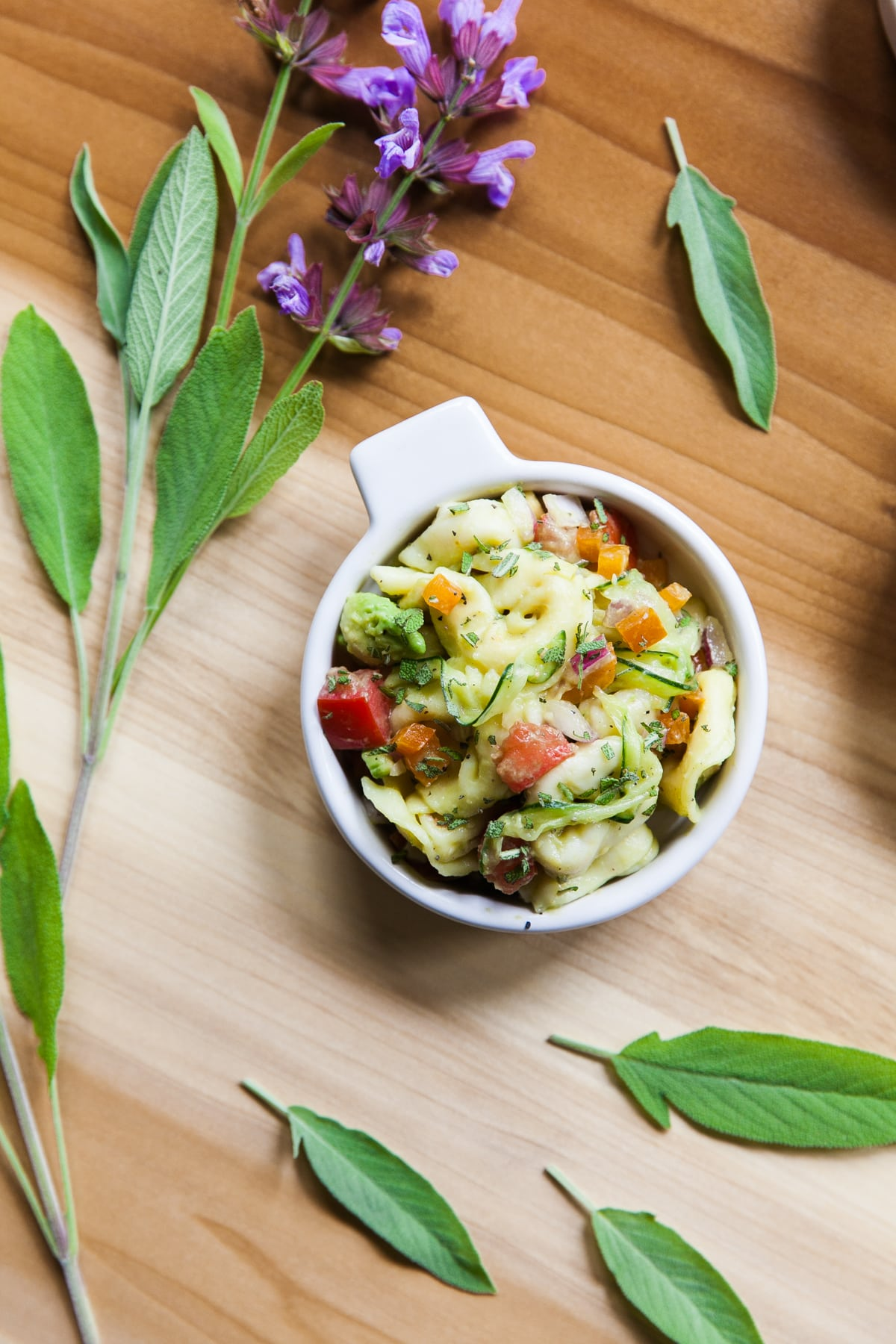 Tortellini Salad with Avocado, Veggies + Fresh Sage | Pasta Salad Recipe | Good Potluck Dishes | Picnic Food | Easy Side Dishes for Potluck | Jessica Brigham | Magazine Ready for Life