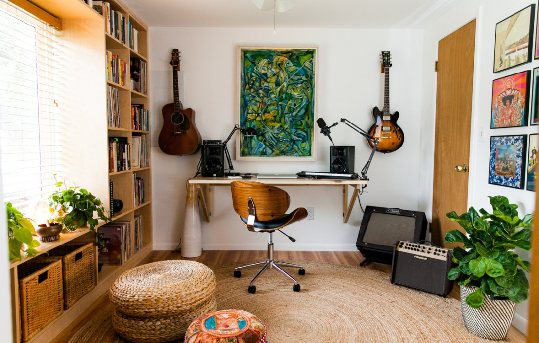 An Eclectic, Mid Century-Inspired Home Recording Studio