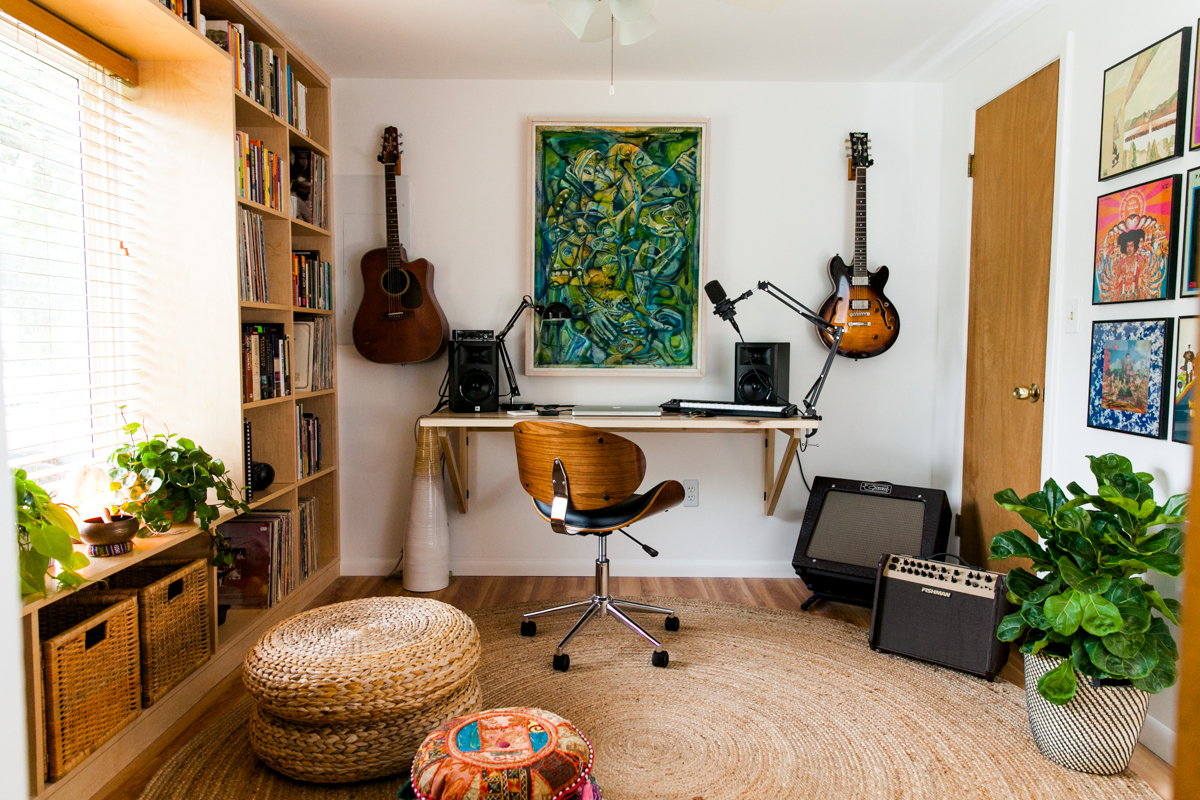 An eclectic mid century inspired home recording studio room ideas modern design