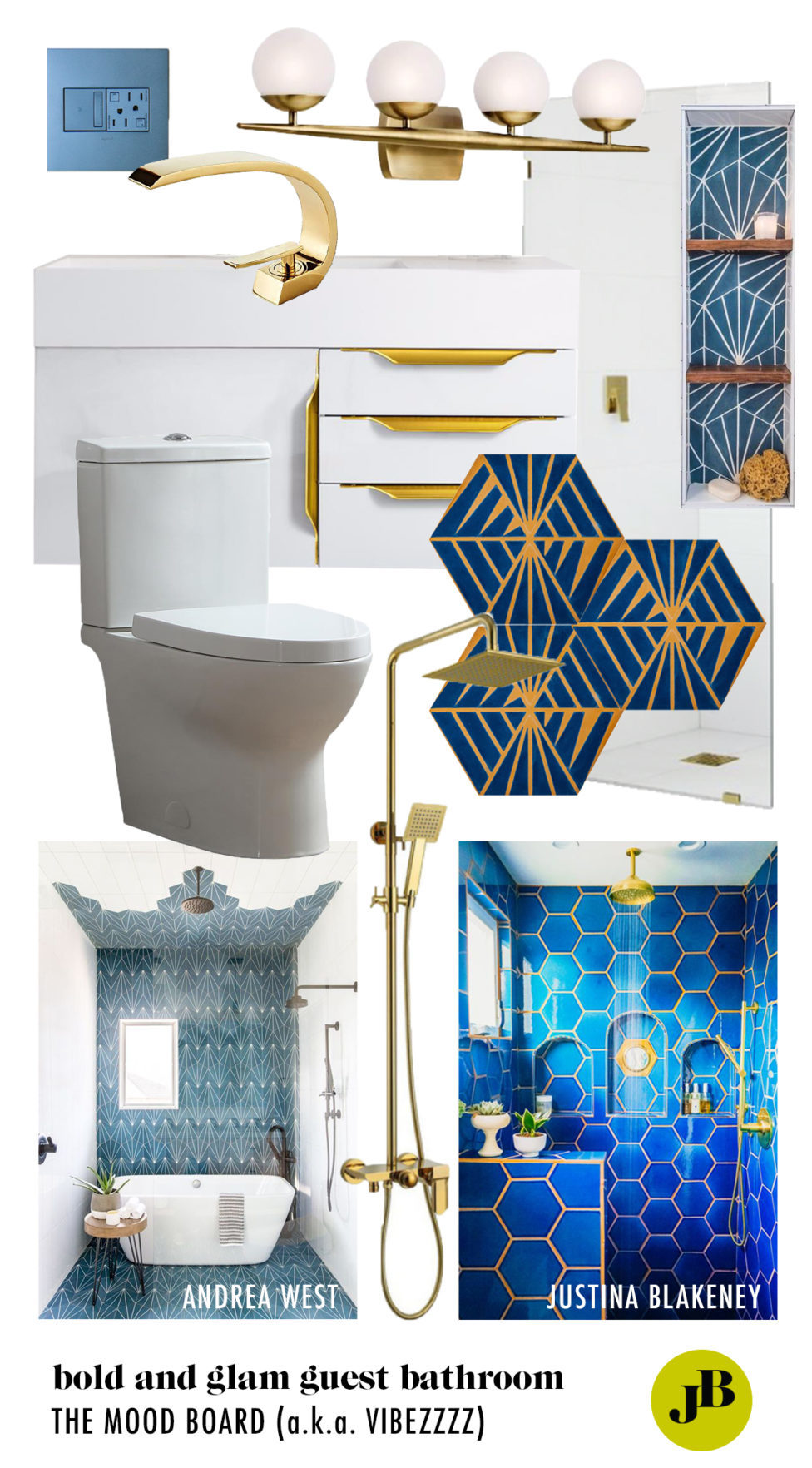 Bold And Glammy Guest Bathroom Remodel The Mood Board Jessica Brigham