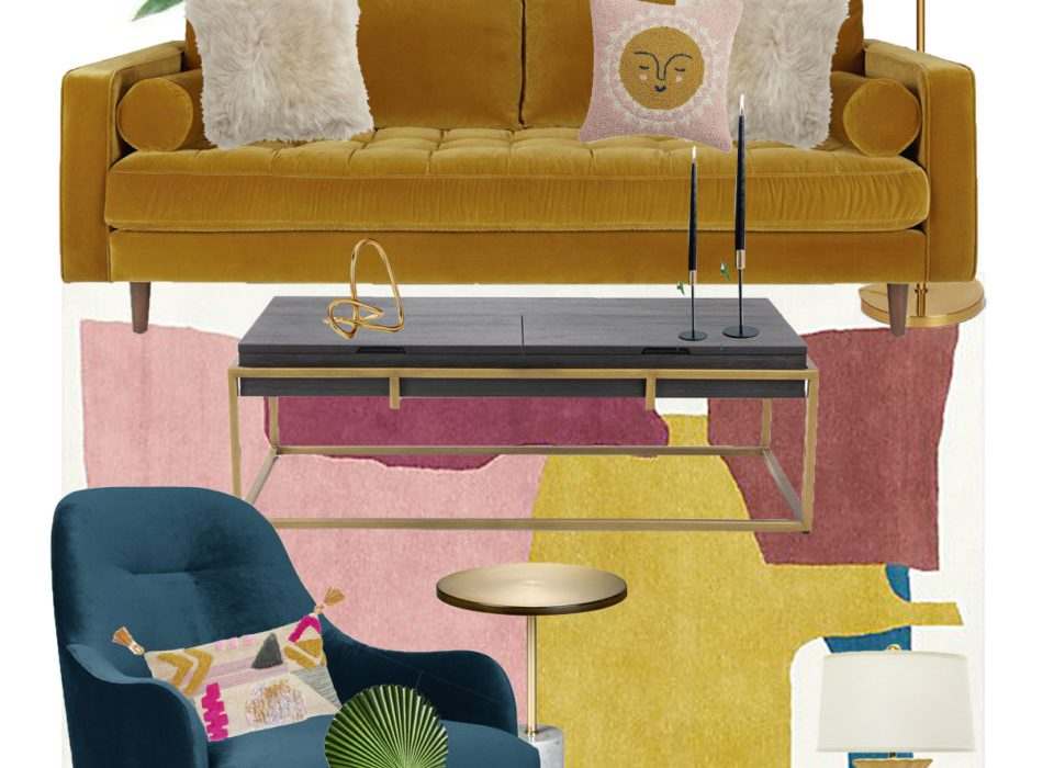 Vibrant Mid-Century Glam Living Room Refresh – The Design Board