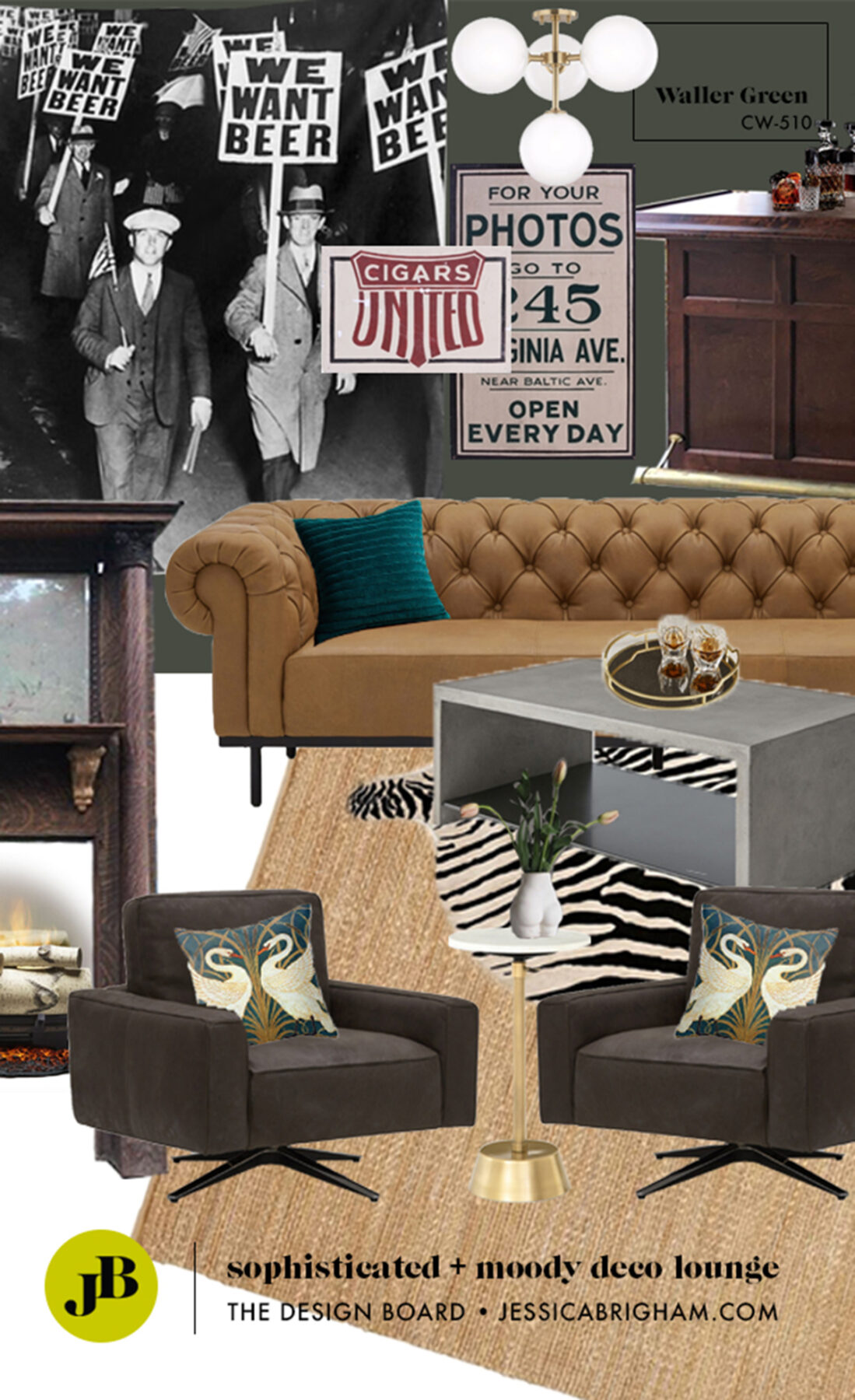 Design Board | Sophisticated + Moody Deco Lounge | Speakeasy Motif | Swanky Retreat | Basement Restoration | Basement Renovation | JessicaBrigham.com