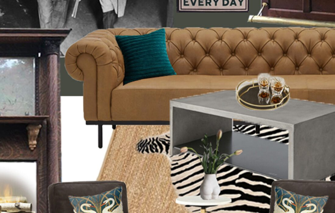 A Sophisticated + Moody Deco Lounge – The Design Board